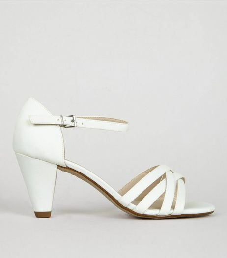 Teens Cream Sateen Strappy Cone Heeled Sandals | New Look