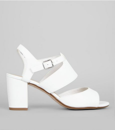 Teens White Strappy Block Heel Sandals | New Look