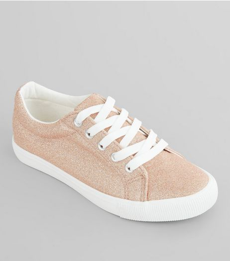 Teens Rose Gold Glitter Lace Up Trainers | New Look