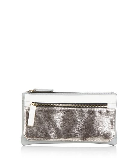 Silver Colour Block Fold Over Purse | New Look