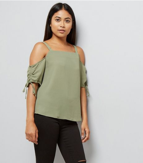 Petite Khaki Ruched Sleeve Cold Shoulder Top | New Look