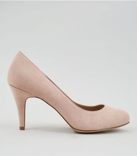 Wide Fit Nude Suedette Court Shoes | New Look