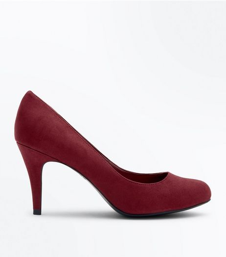 Wide Fit Red Suedette Court Shoes | New Look