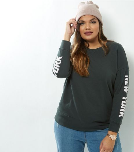 Curves Dark Green New York Sleeve Print Sweater | New Look