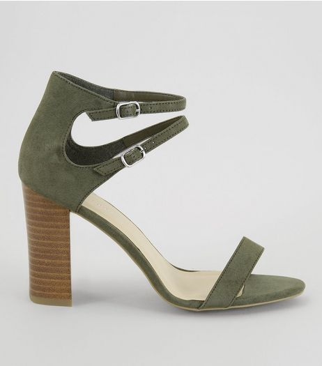 Khaki Double Ankle Strap Heeled Sandals | New Look