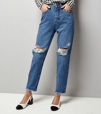 Blue Ripped Knee Tori Mom Jeans