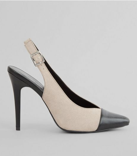 Grey Contrast Toe Cap Sling Back Pointed Heels | New Look