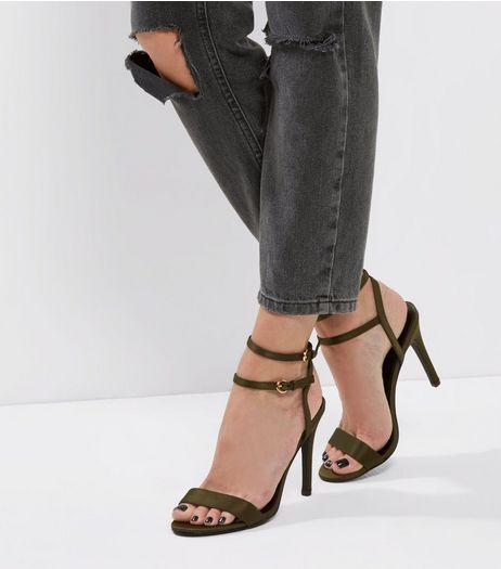 Khaki Satin Double Strap Heels | New Look