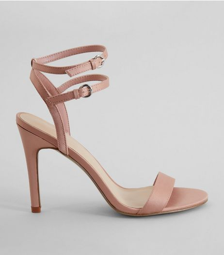 Pink Satin Double Strap Heels | New Look