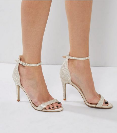 Silver Satin Crystal Embellished Heeled Sandals | New Look