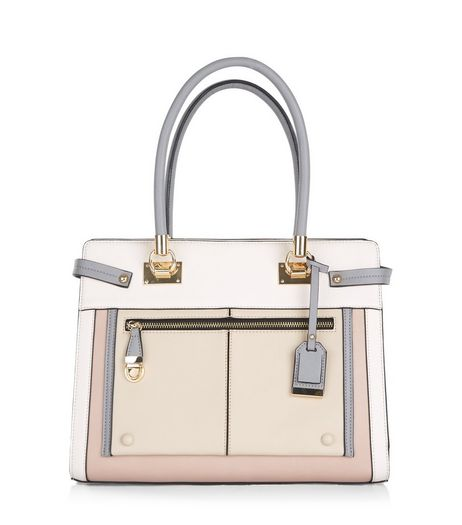 Nude Colour Block Tote Bag | New Look