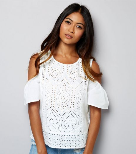 Petite White Cut Out Lace Cold Shoulder Top | New Look