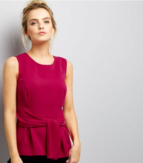 Petite Bright Pink Tie Front Sleeveless Top | New Look