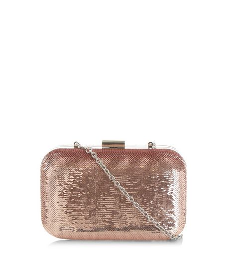 Pink Sequin Box Clutch | New Look