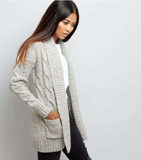 Petite Grey Cable Knit Cardigan | New Look
