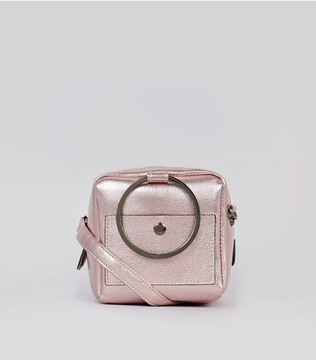 Pink Metallic Ring Handle Across Body Bag | New Look
