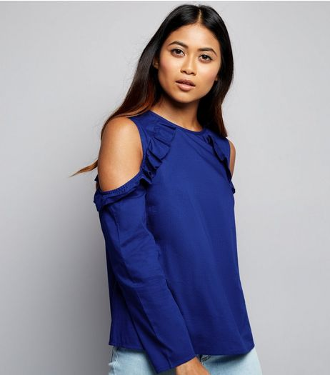 Petite Blue Textured Frill Trim Cold Shoulder Top | New Look