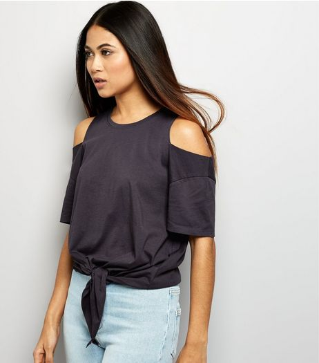 Petite Grey Tie Front Cold Shoulder T-Shirt | New Look