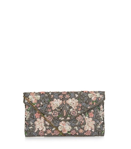 Grey Mesh Floral Embellished Clutch | New Look