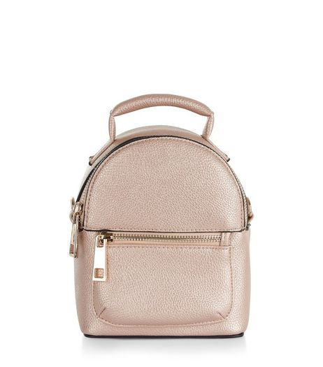 Rose Gold Metallic Mini Backpack | New Look