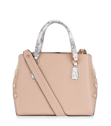 Nude Pink Snakeskin Panel Tote Bag | New Look