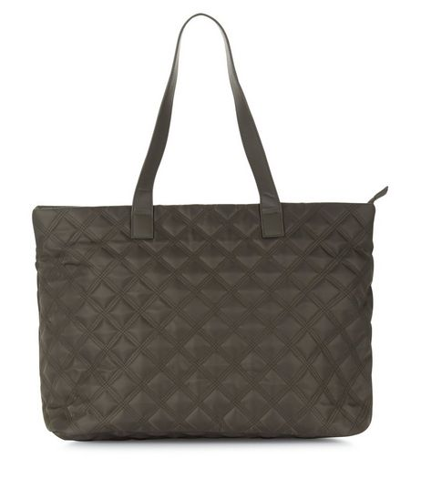 Khaki Quilted Tote Bag | New Look