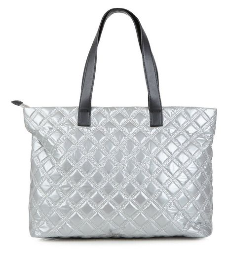 Silver Quilted Tote Bag  | New Look