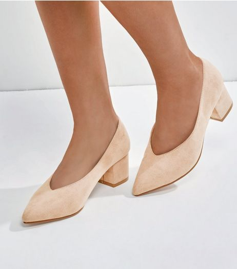 Wide Fit Nude Suedette V Throat Court Shoes | New Look