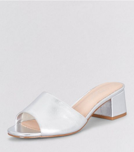 Wide Fit Silver Comfort Block Heel Mules | New Look