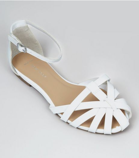 Wide Fit White Caged Front Sandals | New Look