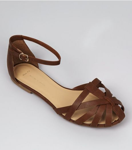 Wide Fit Brown Caged Front Sandals | New Look