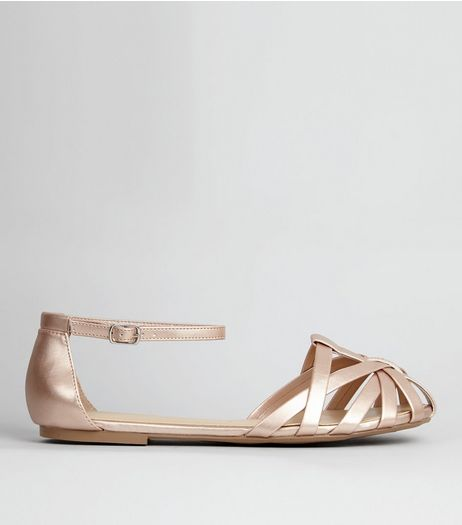 Wide Fit Rose Gold Caged Front Sandals | New Look
