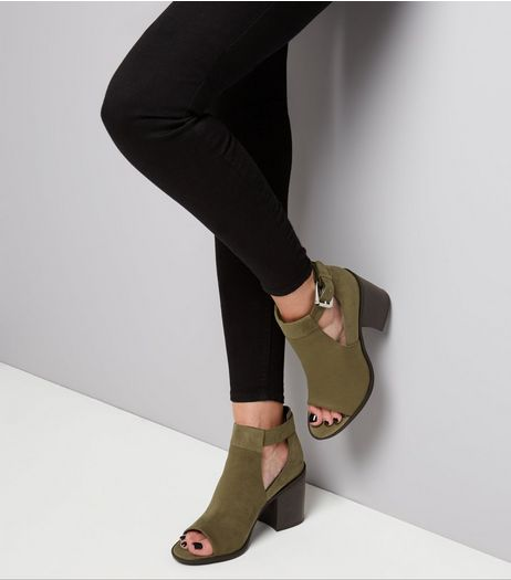 Wide Khaki Suedette Ankle Strap Open Toe Heels  | New Look