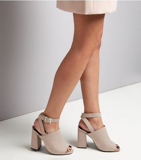 Wide Fit Grey Suedette Ankle Strap Flared Heels | New Look