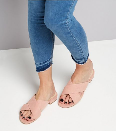 Wide Fit Pink Suedette Cross Strap Mules | New Look