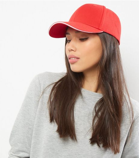 Red Cotton Cap | New Look