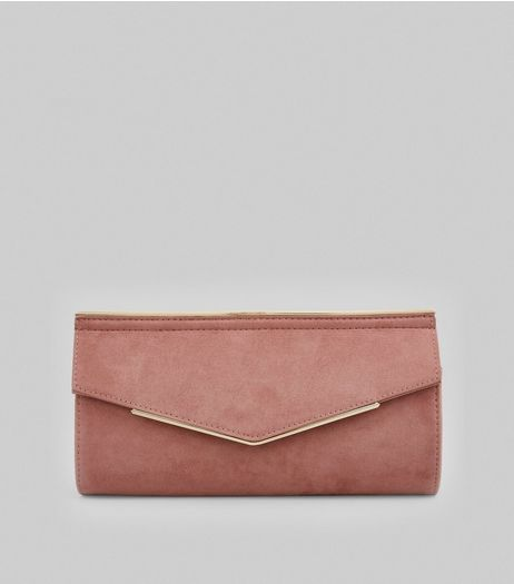 Pink Suedette Metal Trim Clutch | New Look
