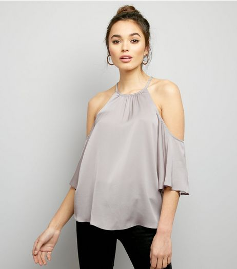 Pale Grey Cold Shoulder Top  | New Look