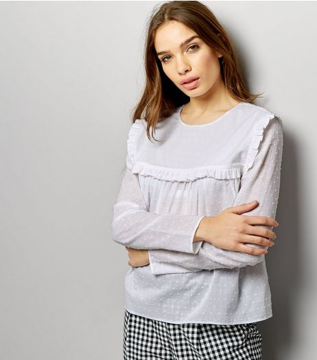 White Spot Textured Frill Yoke Long Sleeve Top | New Look