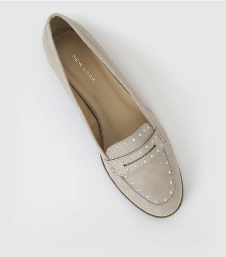 Grey Suedette Studded Loafers | New Look