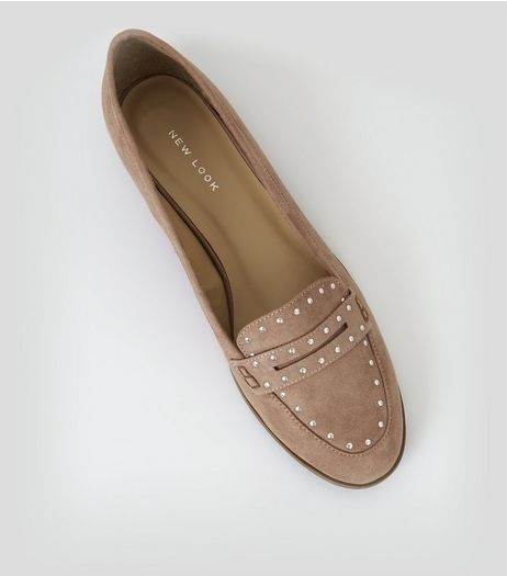 Pink Suedette Studded Loafers | New Look