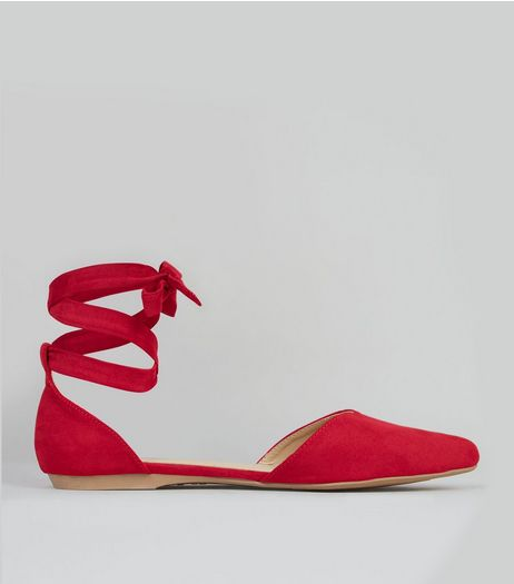 Red Suedette Ankle Tie Fastening Sandals  | New Look