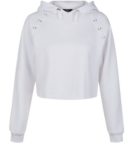 Teens White Eyelet Detail Cropped Hoodie | New Look