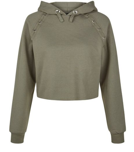 Teens Khaki Eyelet Shoulder Hoodie | New Look