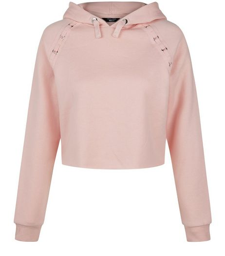 Teens Pink Eyelet Detail Cropped Hoodie | New Look