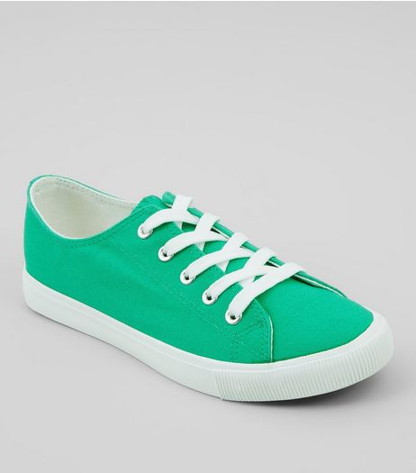 Green Lace Up Trainers | New Look