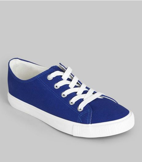 Blue Contrast Sole Lace Up Plimsolls  | New Look