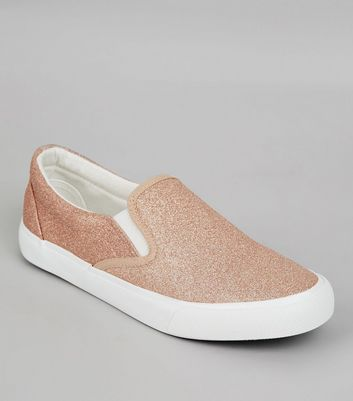 Rose Gold Glitter Plimsolls | New Look