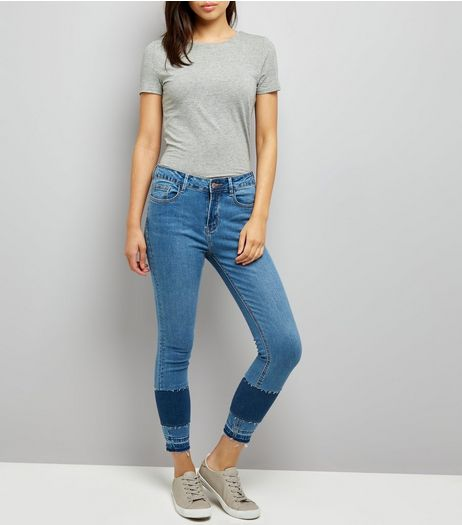Blue Patchwork Skinny Jenna Jeans  | New Look