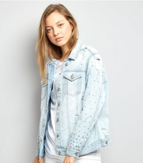 Blue Stud Embellished Denim Jacket  | New Look